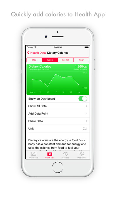 Calories Today Pro - calorie counter for Health Kit Screenshot