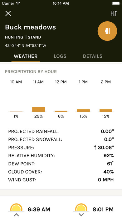 ScoutLook Hunting: Weather, Maps and hunting logs Screenshot