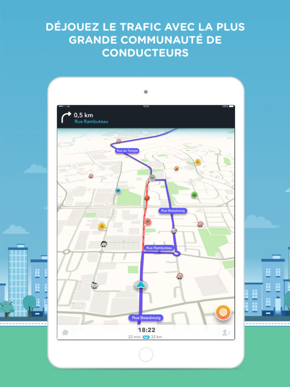 waze gps maps trafic communautaire dans l app store. Black Bedroom Furniture Sets. Home Design Ideas