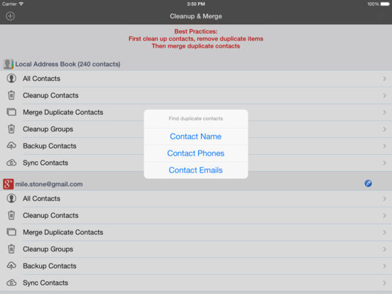 cleanup delete merge duplicate contacts pro ipa cracked for ios
