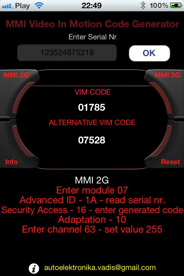 Audi MMI TV Free Code Calculator