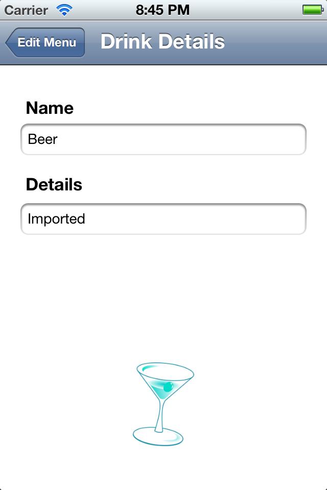 Drink Menu Screenshot