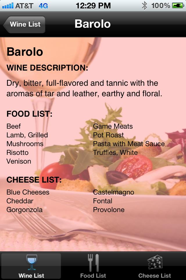 iPairings: Wine, Food and Cheese Pairings Screenshot
