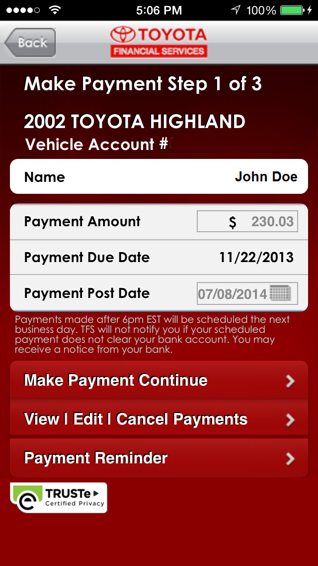 myTFS - Toyota Financial Services Screenshot