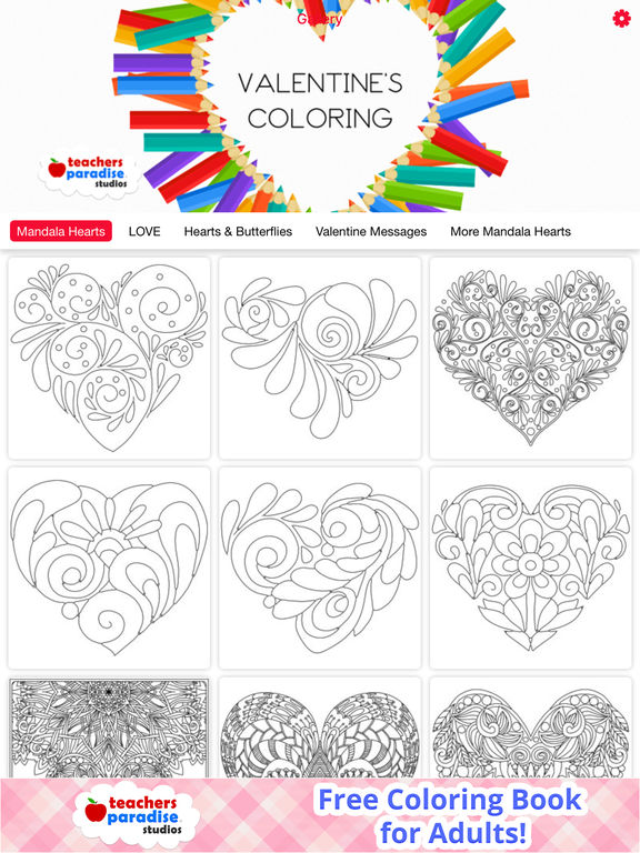 App Shopper: Adult Coloring Books: Valentines Day (Books)