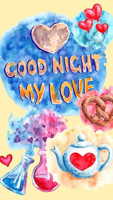 Good Night My Love - Watercolor Romantic Greetings by ...