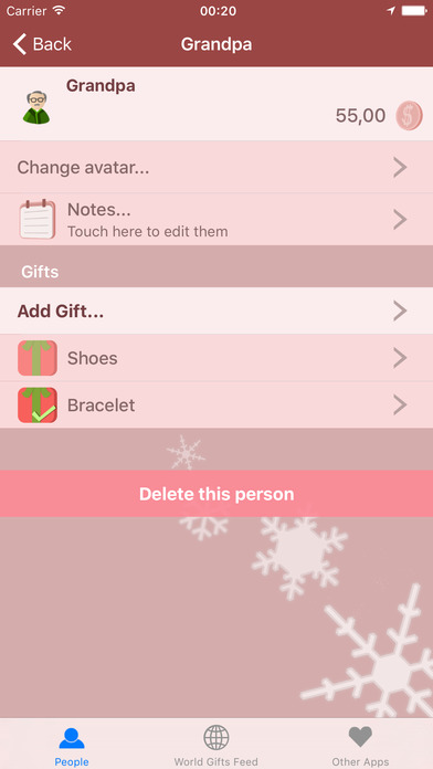 Christmas Gifts Manager Screenshot on iOS