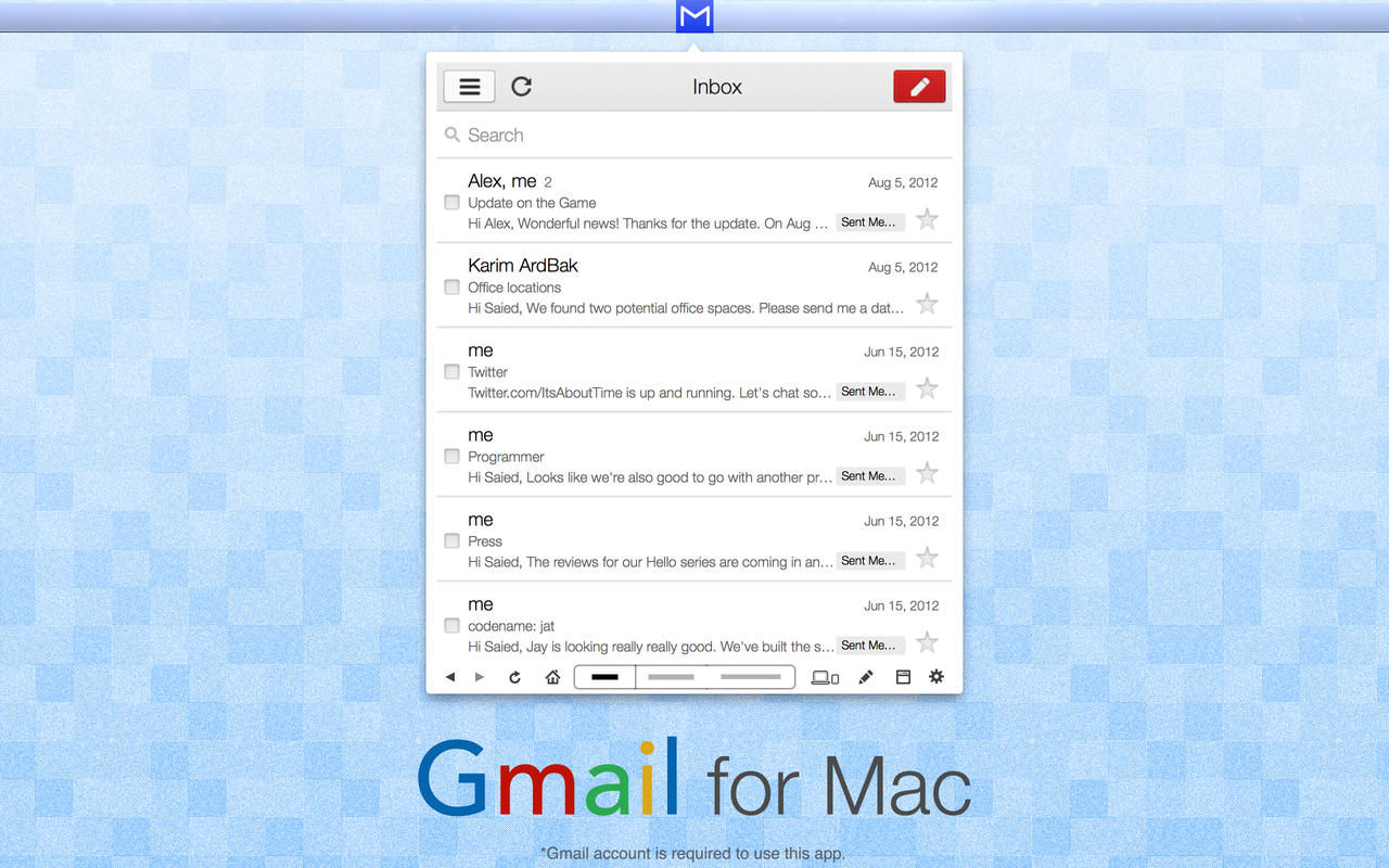 App for Gmail Email & Chat - App with Menu Bar or Window