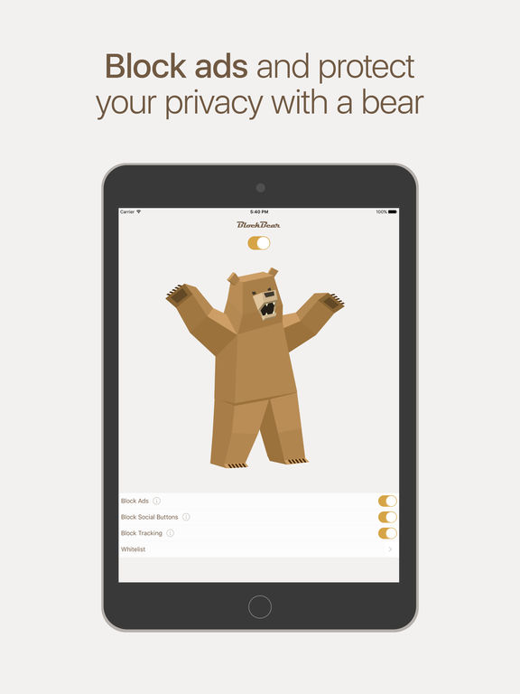 BlockBear: Block Ads, Protect Privacy With a Bear Screenshot