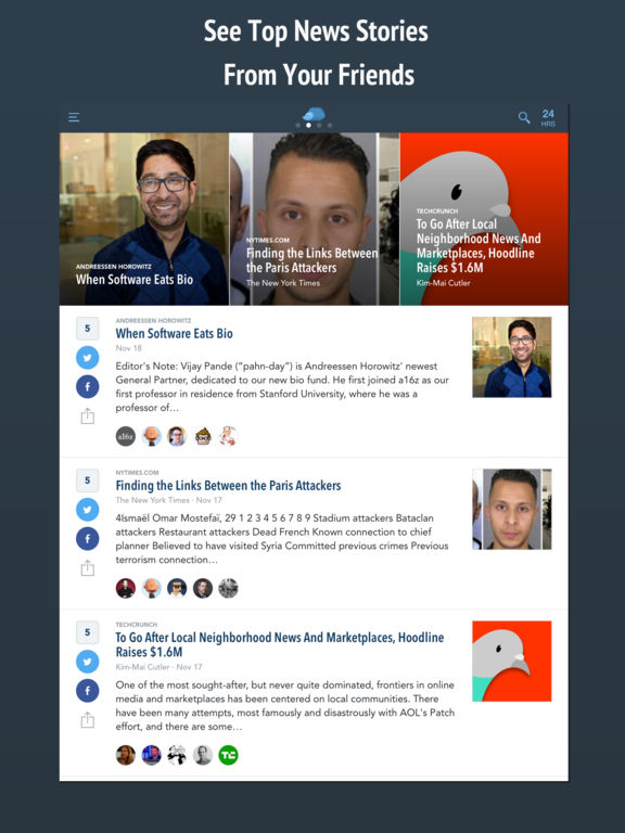 Nuzzel: News and Newsletters for Smart People Screenshot